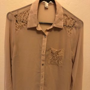 Forever 21 Beige Lace Button Up